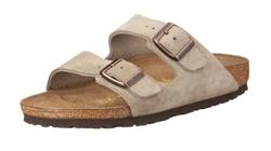 תמונה של נעליים בירקנשטוק אריזונה בירקו פלור עור זמש אפור חום לבנות