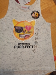 Изображение Changing sequin sleeveless shirt- emoji cat