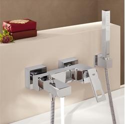 Изображение Grohe Eurocube single lever bath mixer, wall-mounted, with shower set  23141000