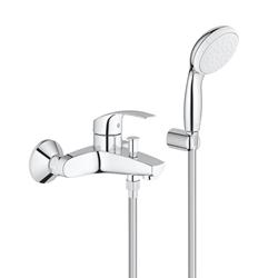 Изображение Grohe Eurosmart single lever bath mixer, with shower set, wall-mounted  3330220A