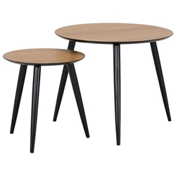 Изображение Coffee table set of 2 rings (oak-black)