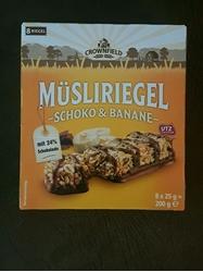 תמונה של חטיף בריאות גרנולה על בסיס דגנים עם שוקולד ובננה