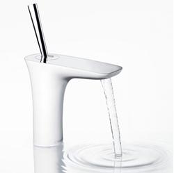 תמונה של Hansgrohe PuraVida single lever basin mixer 110 with push-open waste set, white / chrome 15070400