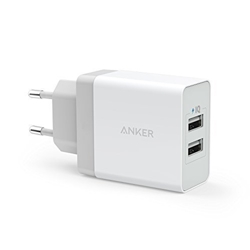 תמונה של Anker 24W 2 Port USB Charger with PowerIQ Technology, Travel Charger for iPhone, iPad, Samsung Galaxy, Note, Nexus, HTC, Motorola, LG, Xiaomi and others (White)