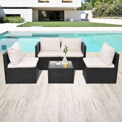 Изображение VidaXL garden sofa set 13 pcs. Poly Rattan black