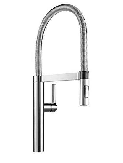 תמונה של ברז מעוצב למטבח במראה תעשייתי שניתן לשנות בין זרמי מים (לחץ נמוך וגבוה) בצבע כרום של חברת Blanco דגם: 517597