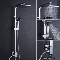 תמונה של Shower column without faucet Rain shower Shower tap Shower head Shower system incl Hand shower Shower Set, height adjustable 92-135cm