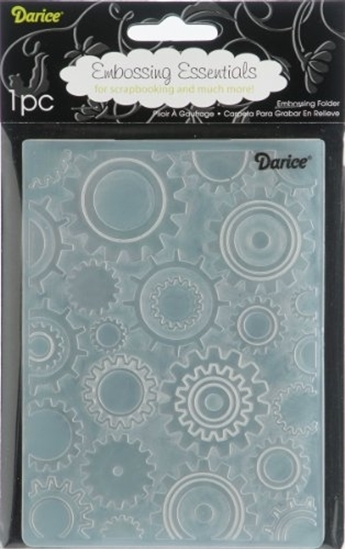 Изображение Darice 1217-54 embossing stencil, steampunk wheels, plastic, transparent, 10.8 x 14.6 x 0.4 cm