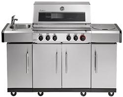 תמונה של Enders KANSAS PRO 4 SIK Professional Turbo BBQ gas grill, infrared 4 stainless steel burner stepless, grill cart with side cooker, silver, 64x153x118 cm