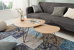 Picture of DuNord Design coffee table wood Kidney table set of 2 Retro