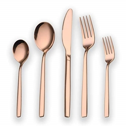 Изображение Berglander 30 Pieces Titanium Rosé Gold Plated Silverware, 30 Pieces Copper Silverware Set. for 6 person