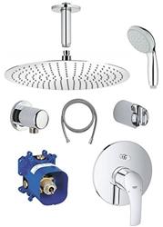 תמונה של Grohe shower fitting set Eurosmart with ceiling outlet, rain shower Rain shower head shower head 30cm, shower mixer concealed fitting, single lever mixer