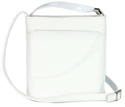 Изображение Belli ital. Leather bag Ladies shoulder bag shoulder bag shoulder bagShoulder bag with additional flap in white - 18,5x18,5x7cm (W x H x D)