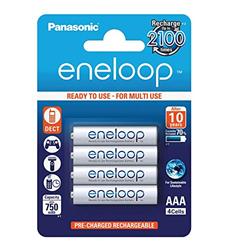תמונה של Panasonic eneloop, Ready-to-Use Ni-MH Akku, AAA Micro, 4er Pack, min. 750 mAh, 2100 Ladezyklen, starke Leistung und geringe Selbstentladung, wiederaufladbare Akku Batterie, Akkubatterie