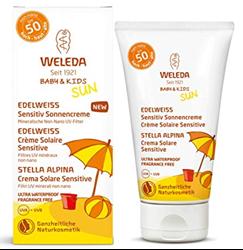 """תמונה של WELEDA בייבי וילדים אדלווייס Sensitiv חלב שמש SPF 30, קרם הגנה טבעי מיידי עם מסנני UV לתינוקות, ילדים ועור רגיש, ללא בושם עמיד למים (1 x 150 מ""""ל)"""
