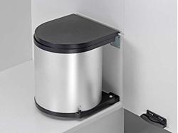 """תמונה של פח מטבח לתלייה 15 ליטר עם מראה כסוף מתאים לדלתות 40 ס""""מ לפחות"""