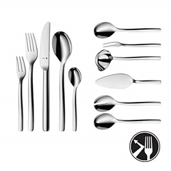 Изображение WMF Atic cutlery set, 12 pieces, 66 pieces, 60 pieces with cutlery, monobloc knife, Cromargan protect polished stainless steel, glossy, scratch-resistant, dishwasher-safe