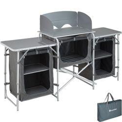 """תמונה של מטבח קמפינג מושלם עם עמדה למנגל, משטח עבודה וארונות 172 * 52 *104 ס""""מ של חברת Tectake"""