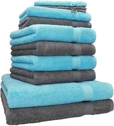 """Изображение 10 Piece Towel Set """"Premium"""" turquoise & anthracite"""