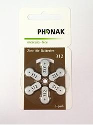 תמונה של סוללות Phonak 312 ללא כספית