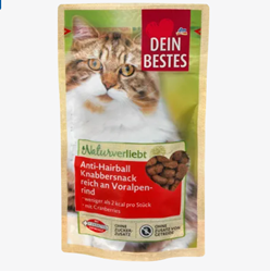 Picture of snack for cats, anti-hairball snack, rich in Alpine cattle & with cranberries, 50 g