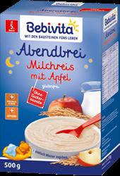 Picture of Bebivita Milk porridge evening porridge rice pudding with apple from the 5th month, 500 g