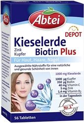 Изображение Abtei Silica Biotin Plus Depot (Zinc, Copper), 56 Tablets - 78 g