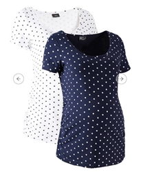 Picture of Bonprix Maternity shirt, 2-pack, White and Dark Blue, made from organic cotton