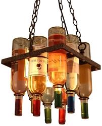Изображение Bespd Loft Retro Industrial Tea Bar Creative Wooden Bottle of Wine in Glass Chandelier [Energy Class A++]