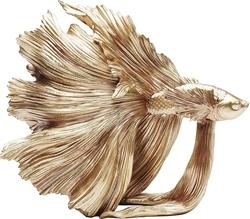 Picture of Kare Design Decorative Figurine Betta Fish Gold, Crowntail Fish, Extravagant Decorative Figure, Golden Decorative Figure (H/W/D) 36.5 x 33.5 x 14 cm